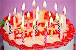 Birthday cake with burning candles and icing Stock Photo - Royalty-Free, Artist: Elenathewise                  , Code: 400-05695715