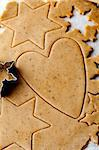 Making gingerbread cookies for Christmas. Gingerbread dough with star shapes and a heart.