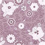 Seamless violet floral pattern with white flowers (vector) Stock Photo - Royalty-Free, Artist: OlgaDrozd                     , Code: 400-05696409