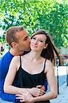 Young couple in love smiling in the streets Stock Photo - Royalty-Free, Artist: ilolab                        , Code: 400-05697565
