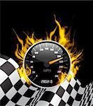 Racing Background with burning speedometer and checkered flag Stock Photo - Royalty-Free, Artist: sermax55                      , Code: 400-05697595