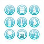 set of 9 blue christmas signs Stock Photo - Royalty-Free, Artist: LxIsabelle                    , Code: 400-05697834