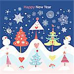 graphic decorative Christmas trees in the background with snowflakes Stock Photo - Royalty-Free, Artist: tanor                         , Code: 400-05697935