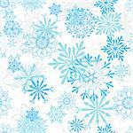 Seamless snowflakes background for winter and christmas theme.  For easy making seamless pattern just drag all group into swatches bar, and use it for filling any contours. Stock Photo - Royalty-Free, Artist: angelp                        , Code: 400-05698053