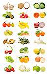 fruits and vegetables collection isolated on white background     Stock Photo - Royalty-Free, Artist: luiscar                       , Code: 400-05698311