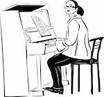 sketch of a woman pianist in glasses Stock Photo - Royalty-Free, Artist: Zirka                         , Code: 400-05698445