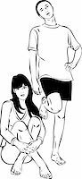 sketch of  the guy and girl barefoot Stock Photo - Royalty-Freenull, Code: 400-05698447
