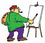 Picture of the artist with his easel, palette and brush. Stock Photo - Royalty-Free, Artist: VIPDesignUSA                  , Code: 400-05698790