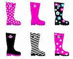 Collecton of wellies boots accessories. Vector illustration.  Stock Photo - Royalty-Free, Artist: lordalea                      , Code: 400-05698960