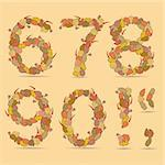 67890! Vector colorful font. Autumn theme, leaves and berries.