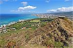 Wide-angle view of the rim of Diamondhead Crater, Waikiki Beach and all of Honolulu in the distance from the top of the trail Stock Photo - Royalty-Free, Artist: sgoodwin4813                  , Code: 400-05699063