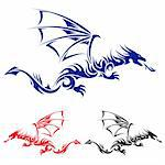 Flying Dragon. Blue, red and black Asian tattoo. Illustration on white background. Stock Photo - Royalty-Free, Artist: dvarg                         , Code: 400-05699073