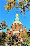 Helsinki. The Assumption Cathedral in  autumn against  golden foliage and blue sky Stock Photo - Royalty-Free, Artist: TatyanaSavvateeva             , Code: 400-05699183