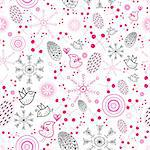seamless pattern of bright berries, snowflakes and birds on a white background Stock Photo - Royalty-Free, Artist: tanor                         , Code: 400-05699198