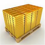 A lot of Gold Bars on the pallet. Stock Photo - Royalty-Free, Artist: tashatuvango                  , Code: 400-05699342