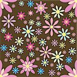 The seamless floral pattern on brown background Stock Photo - Royalty-Free, Artist: remonino                      , Code: 400-05699358