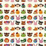 cartoon animal face pattern seamless Stock Photo - Royalty-Free, Artist: notkoo2008                    , Code: 400-05699414