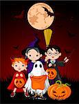 Halloween background with children trick or treating in Halloween costume Stock Photo - Royalty-Free, Artist: Dazdraperma                   , Code: 400-05699469