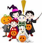 Halloween   children trick or treating in Halloween costume Stock Photo - Royalty-Free, Artist: Dazdraperma                   , Code: 400-05699470