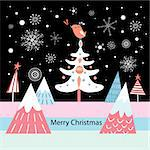bright Christmas greeting card with a tree and a bird on a dark background with snowflakes
