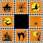 Halloween set of stamp on orange black background