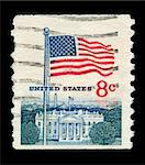 UNITED STATES - CIRCA 1950: mail stamp printed the USA featuring the White House government building and national flag, circa 1950 Stock Photo - Royalty-Free, Artist: Taigi                         , Code: 400-05700939