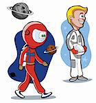 Cartoon astronauts in a space Stock Photo - Royalty-Free, Artist: franceschi                    , Code: 400-05700946