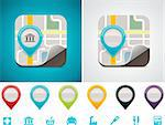 Detailed square icon representing map with color markers Stock Photo - Royalty-Free, Artist: tele52                        , Code: 400-05700949