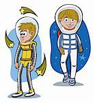 Cartoon astronauts in a space Stock Photo - Royalty-Free, Artist: franceschi                    , Code: 400-05700951