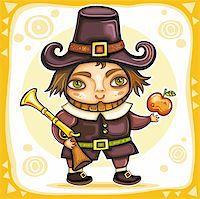 Thanksgiving happy cartoon pilgrim man with blunderbuss. Thanksgiving series 2 Stock Photo - Royalty-Freenull, Code: 400-05701474