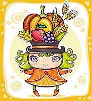Happy cute girl wearing Cornucopia hat full of colorful fruits and vegetables, celebrating harvest festival in the forest. Stock Photo - Royalty-Freenull, Code: 400-05701475