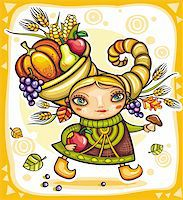 Happy cute girl wearing Cornucopia hat full of colorful fruits and vegetables, celebrating harvest festival in the forest. Stock Photo - Royalty-Freenull, Code: 400-05701476