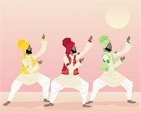 punjabi - an illustration of three male punjabi dancers in colorful traditional clothing dancing under a warm sun Stock Photo - Royalty-Freenull, Code: 400-05701566
