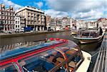 sightseeing boats in typical amsterdam canal Stock Photo - Royalty-Free, Artist: hansenn                       , Code: 400-05701604