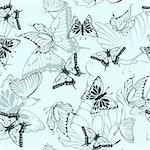Seamless vector butterfly pattern. For easy making seamless pattern just drag all group into swatches bar, and use it for filling any contours.