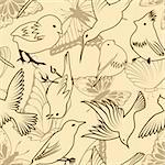 Seamless vector bird and butterfly pattern. For easy making seamless pattern just drag all group into swatches bar, and use it for filling any contours.