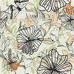 Seamless vector floral pattern. For easy making seamless pattern just drag all group into swatches bar, and use it for filling any contours. Stock Photo - Royalty-Free, Artist: angelp                        , Code: 400-05701677