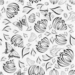 Seamless vector floral pattern. For easy making seamless pattern just drag all group into swatches bar, and use it for filling any contours. Stock Photo - Royalty-Free, Artist: angelp                        , Code: 400-05701678