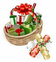 A Christmas basket with wine, gifts, crackers and ball bauble decoration Stock Photo - Royalty-Freenull, Code: 400-05701894