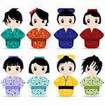 vector set of geisha illustrations Stock Photo - Royalty-Free, Artist: emirsimsek                    , Code: 400-05702005