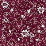 Purple effortless floral pattern with white flowers (vector) Stock Photo - Royalty-Free, Artist: OlgaDrozd                     , Code: 400-05703429