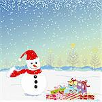 Christmas greeting snowman and colorful present Stock Photo - Royalty-Free, Artist: meikis                        , Code: 400-05704299