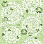 Green repeating floral pattern with white flowers (vector) Stock Photo - Royalty-Free, Artist: OlgaDrozd                     , Code: 400-05704464