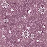 Gentle violet seamless floral pattern with white flowers (vector) Stock Photo - Royalty-Free, Artist: OlgaDrozd                     , Code: 400-05704465