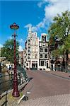 typical amsterdam houses and bridge over a canal Stock Photo - Royalty-Free, Artist: hansenn                       , Code: 400-05704475