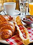 fresh croissant on table ,Delicious! Stock Photo - Royalty-Free, Artist: ilolab                        , Code: 400-05704511