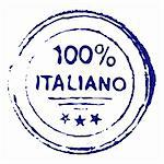 Illustration of hundred percent italiano grungy ink stamp - vector Stock Photo - Royalty-Free, Artist: lupobianco                    , Code: 400-05704599