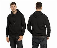 Young male with blank black hoodie, front and back. Ready for your design or artwork. Stock Photo - Royalty-Freenull, Code: 400-05704633
