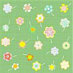 Hand drawn floral background with set of different flowers vector