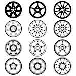 automotive wheel with alloy wheels Stock Photo - Royalty-Free, Artist: aarrows                       , Code: 400-05704831